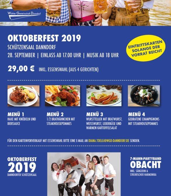 Ankündigung Oktoberfest 2019
